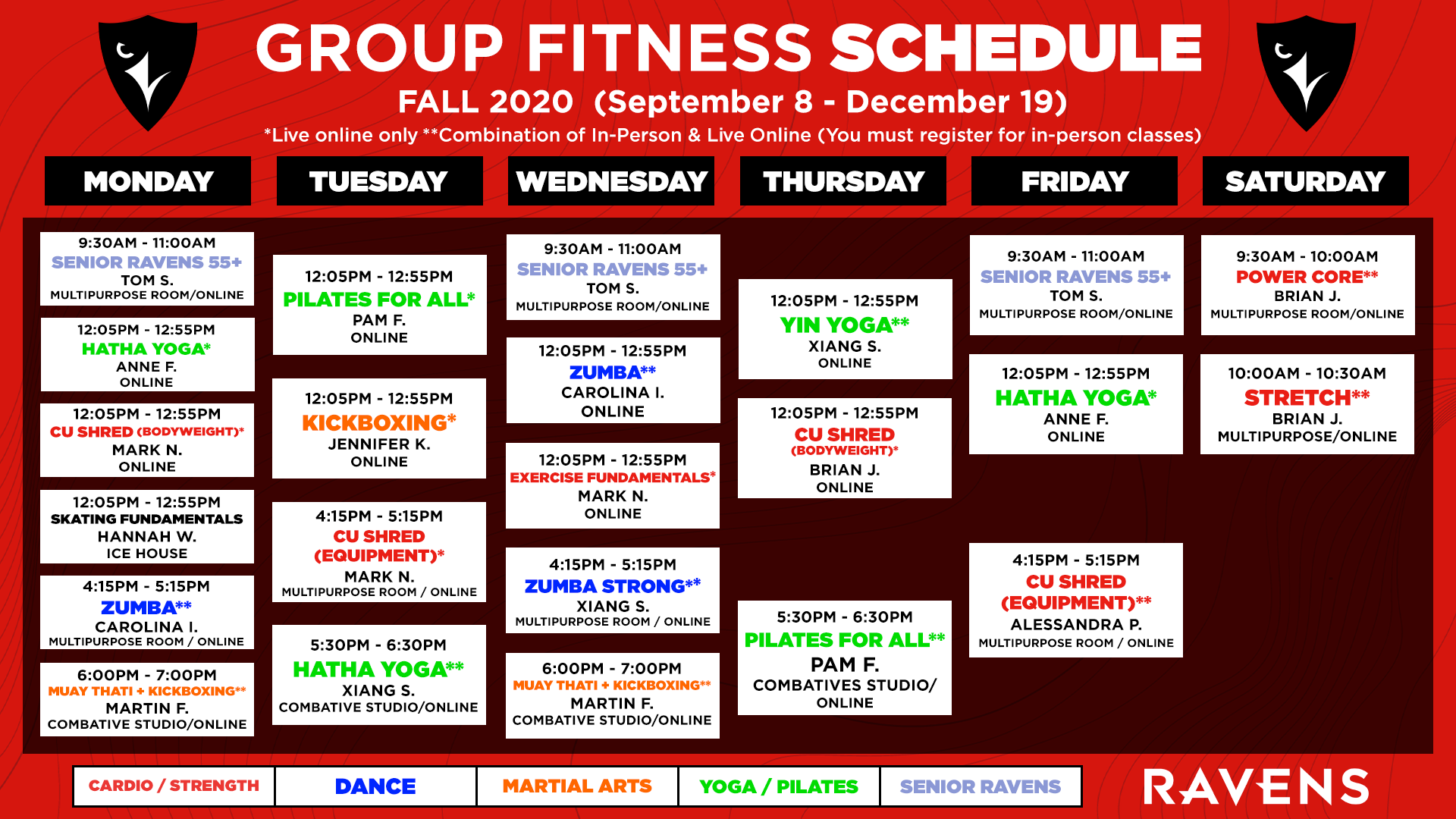 FALL 2020 FITNESS SCHEDULE