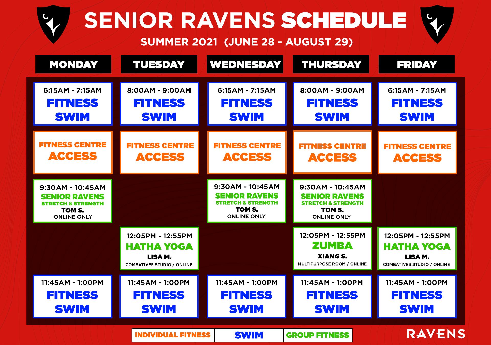 senior ravens summer schedule