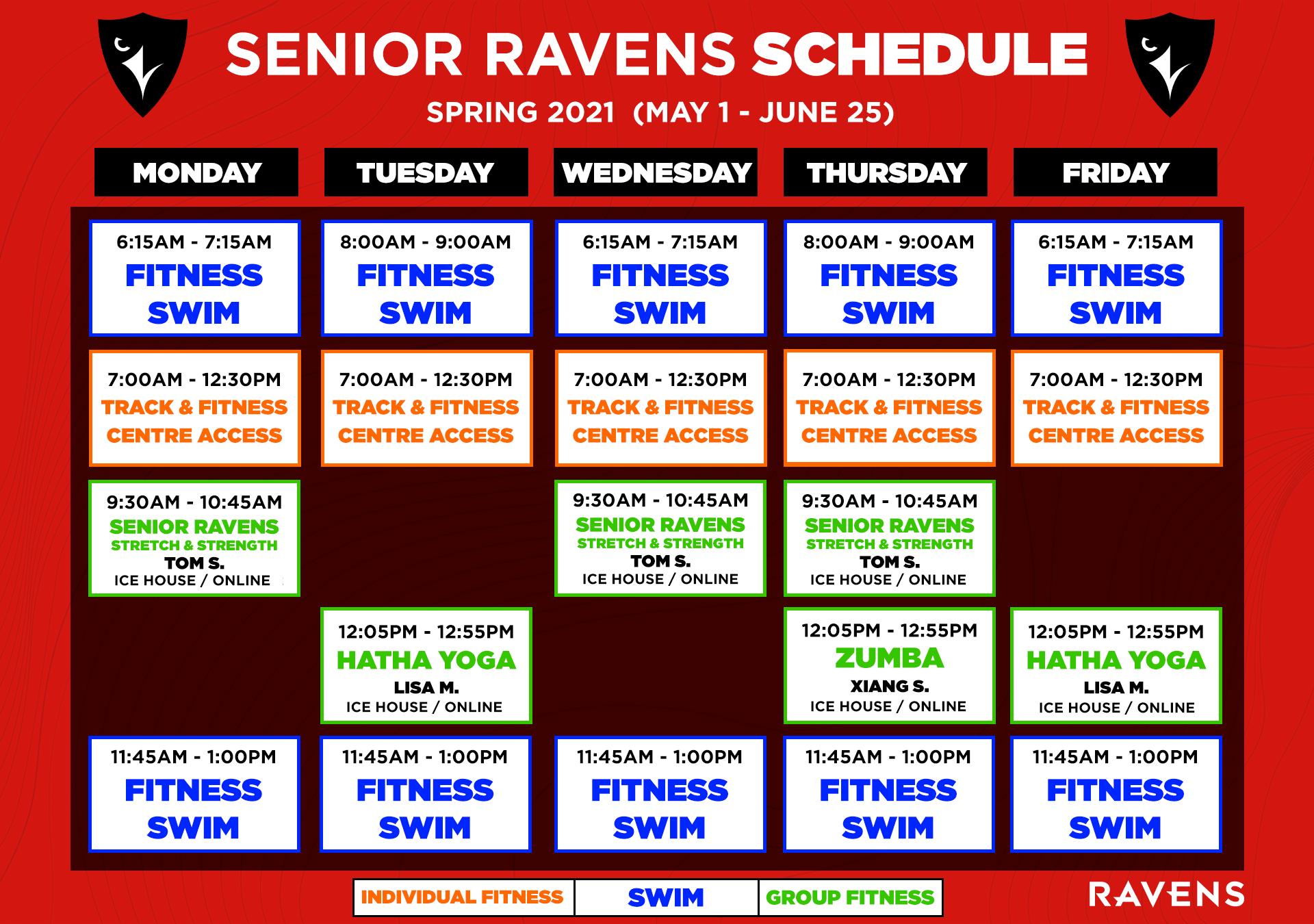 senior ravens spring schedule