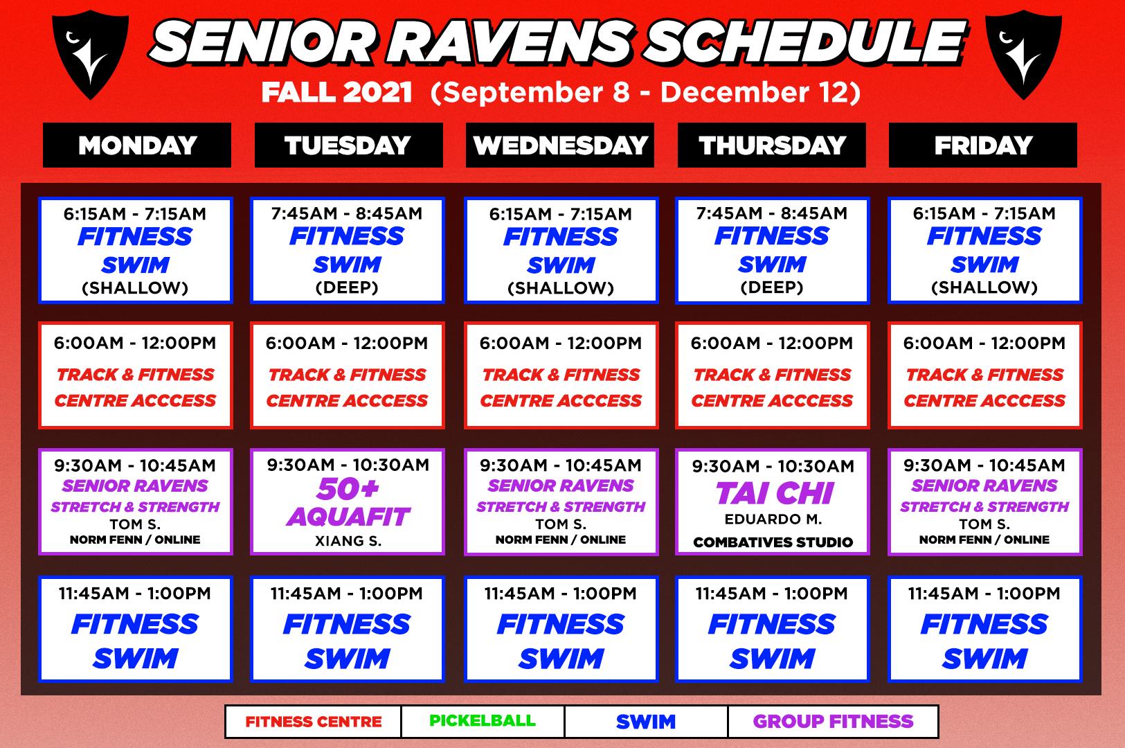 senior ravens fall schedule